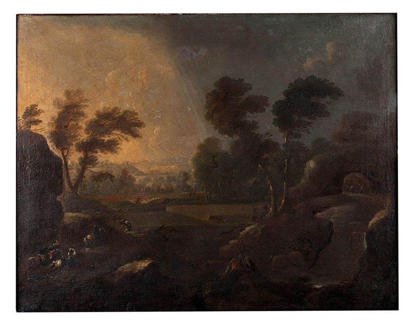 Óleo s/lienzo. \'Paisaje\'. Atribuído a PHILLIPS WOUWERMAN (pintor ...